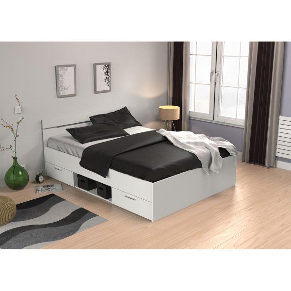 Multifunkčná posteľ 140x200 MICHIGAN perleťovo biela