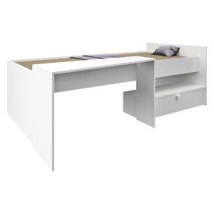 Posteľ 90x200 s písacím stolom BONY perleťovo biela