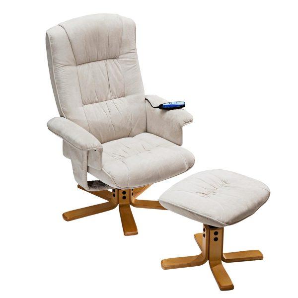 Relaxačné masážne kreslo s podnožkou béžové K36
