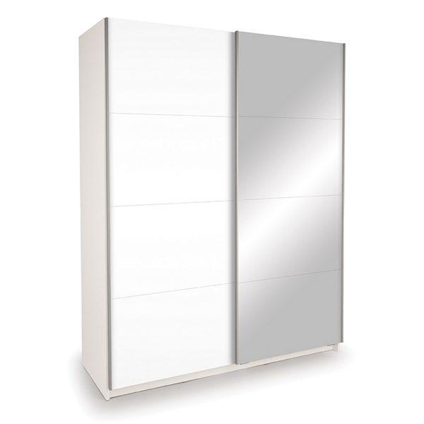 Skriňa s posuvnými dverami DECOR 150 biela/zrkadlo