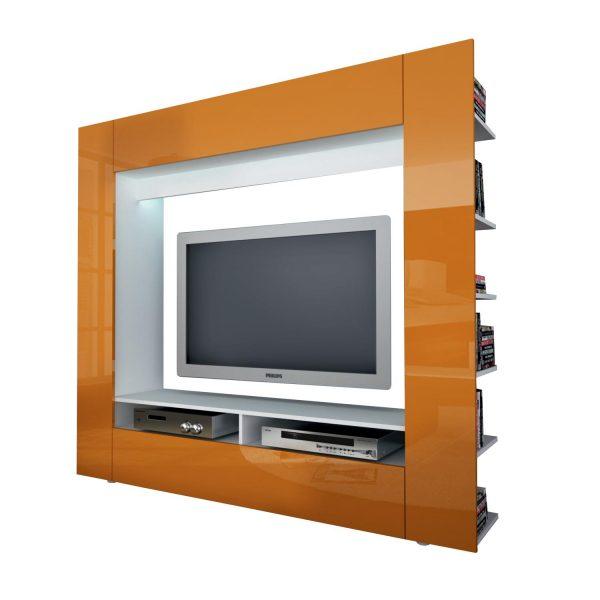 Televízna stena OLLI biela/lesklá oranžová