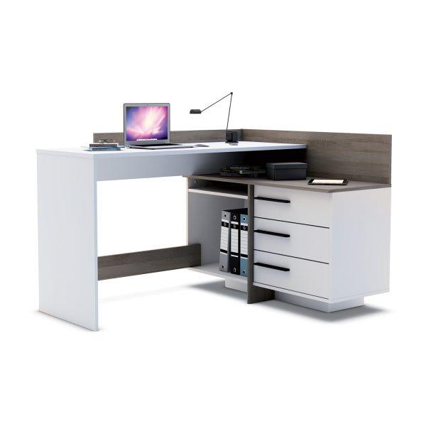 Písací stôl rohový THALES 484879 tmavý dub/biela
