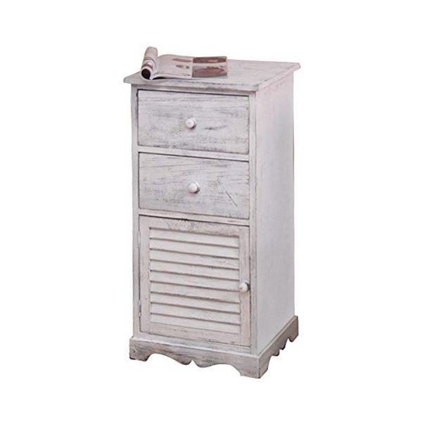 Komoda 1 dvere + 2 zásuvky biela antik