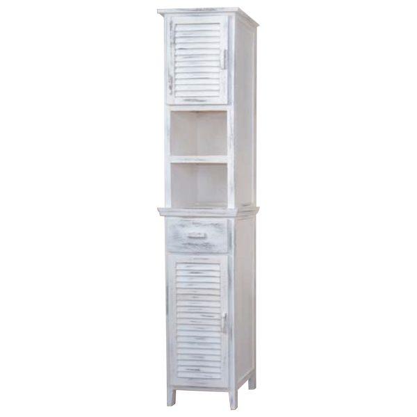 Vysoká skrinka 2 dvere + 1 zásuvka biela antik