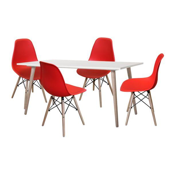 Jedálenský stôl GÖTEBORG 50 + 4 stoličky UNO červené