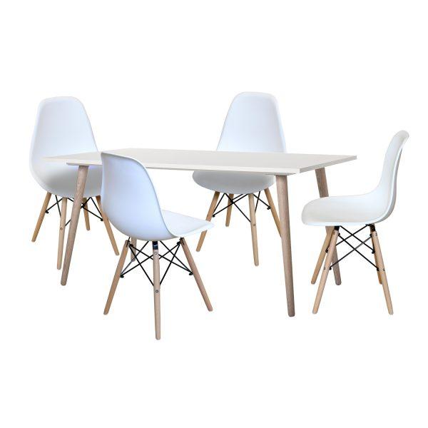 Jedálenský stôl GÖTEBORG 50 + 4 stoličky UNO biele