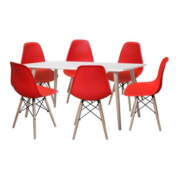 Jedálenský stôl GÖTEBORG 50 + 6 stoličiek UNO červené