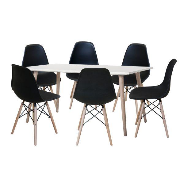 Jedálenský stôl GÖTEBORG 50 + 6 stoličiek UNO čierne