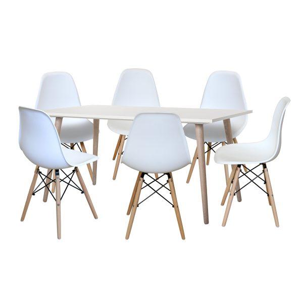 Jedálenský stôl GÖTEBORG 50 + 6 stoličiek UNO biele