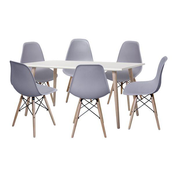 Jedálenský stôl GÖTEBORG 50 + 6 stoličiek UNO sivé