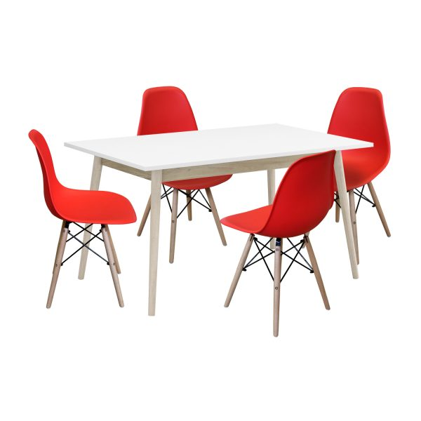 Jedálenský stôl NATURE + 4 stoličky UNO červené