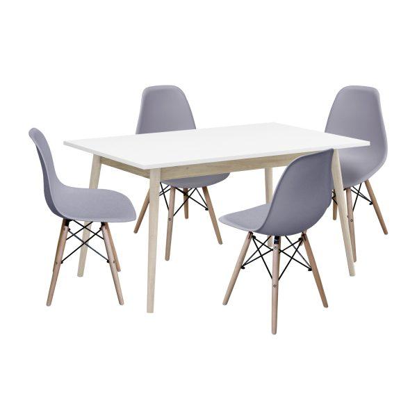 Jedálenský stôl NATURE + 4 stoličky UNO sivé