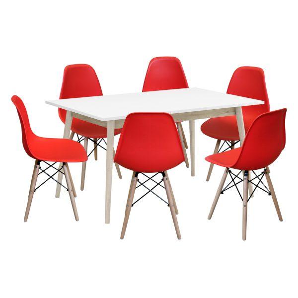 Jedálenský stôl NATURE + 6 stoličiek UNO červené