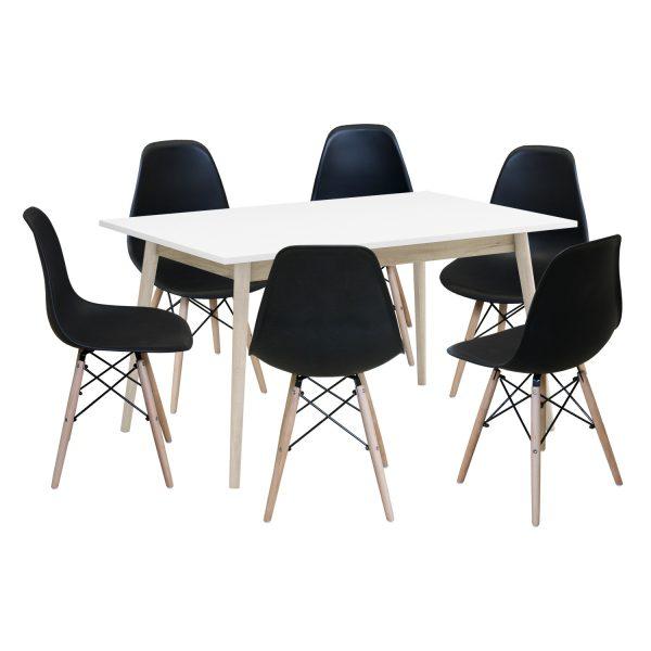 Jedálenský stôl NATURE + 6 stoličiek UNO čierne