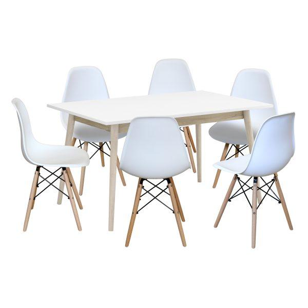 Jedálenský stôl NATURE + 6 stoličiek UNO biele