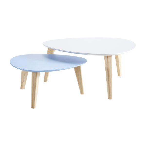Konferenčný stolík STONE sada 2 ks biely/modrý