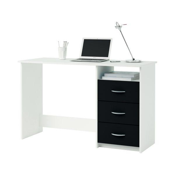 Písací stôl perleťovo biela/čierna