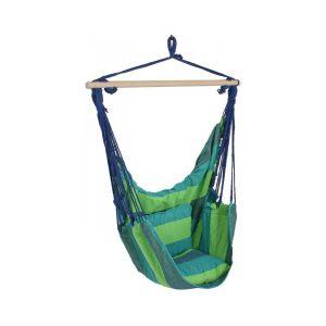 Závesné záhradné kreslo modré/zelené