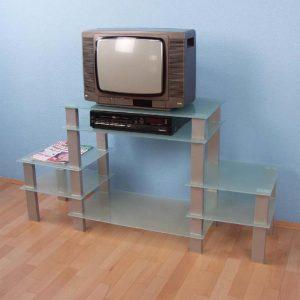 TV stolík sklo/strieborná