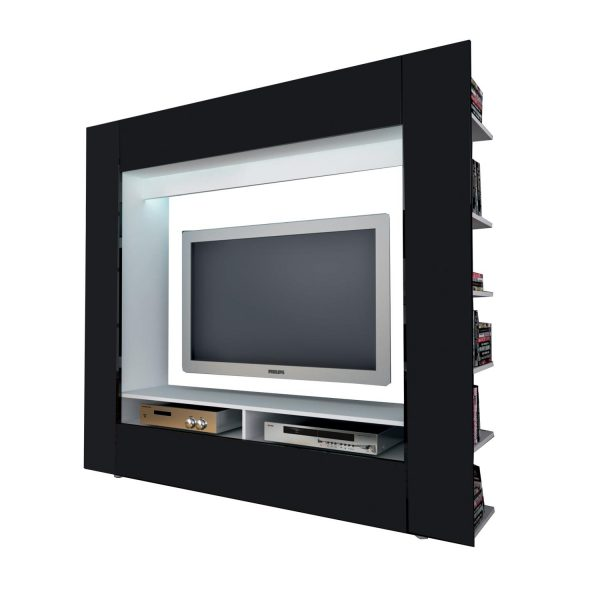 Televízna stena OLLI biela/lesklá čierna