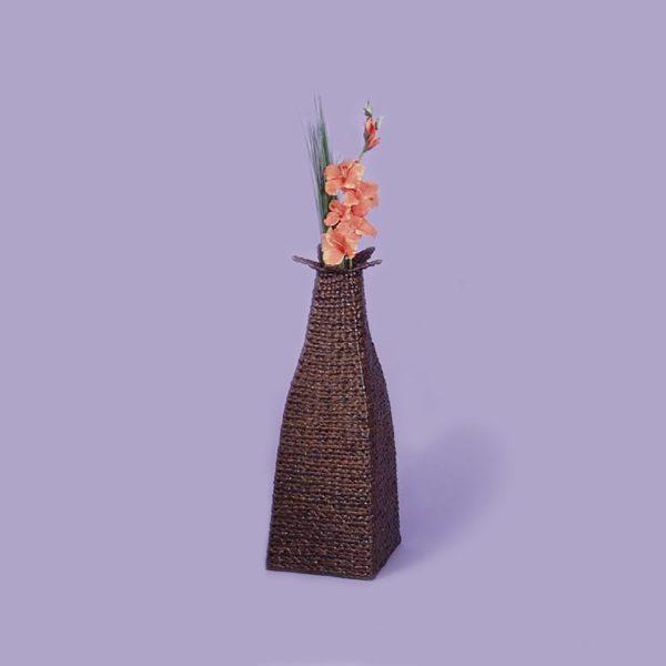 Dekoračný obal na vázu hnedý lak