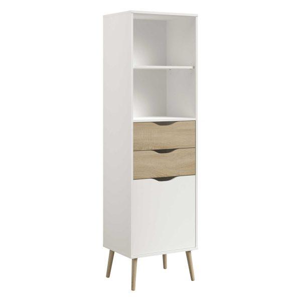 Knižnica 2 zásuvky + 1 dvere NORSK dub/biela