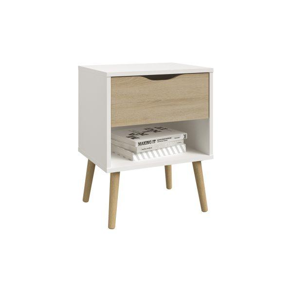 Nočný stolík NORSK dub/biela