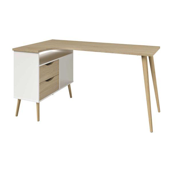 Rohový písací stôl NORSK dub/biela