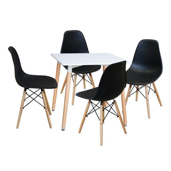 Jedálenský stôl 80x80 UNO biely + 4 stoličky UNO čierne