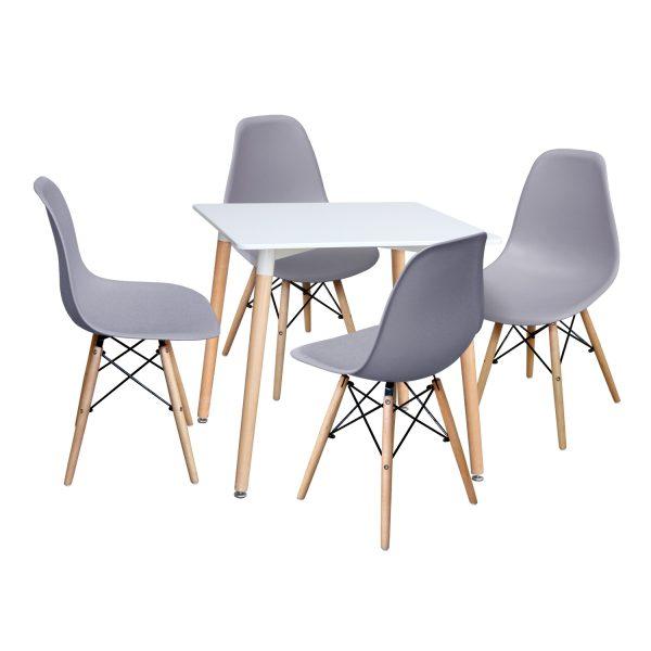 Jedálenský stôl 80x80 UNO biely + 4 stoličky UNO sivé