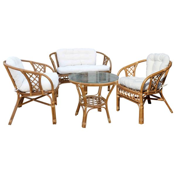 Zostava MANAU stôl + 3 kreslá ratan
