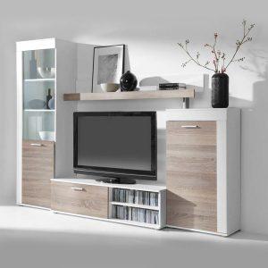 Obývacia stena DECOR biela/dub