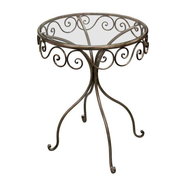 Okrúhly stôl sklo/zlatý