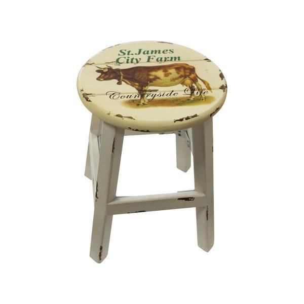 Stolička biela/krava antik
