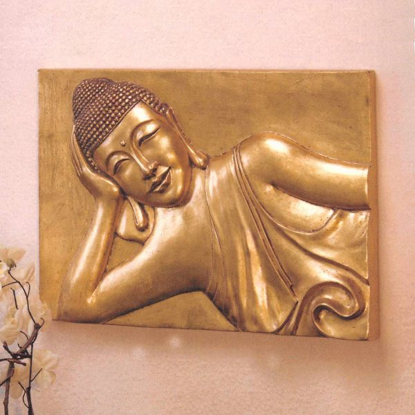 Nástenná dekorácia Buddha zlatá
