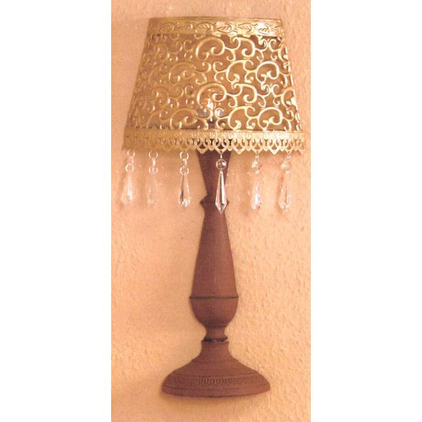 Nástenná dekoratívna kovová lampa zlatá/hnedá