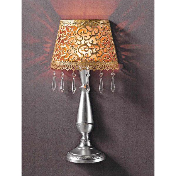 Nástenná dekoratívna kovová lampa zlatá/strieborná