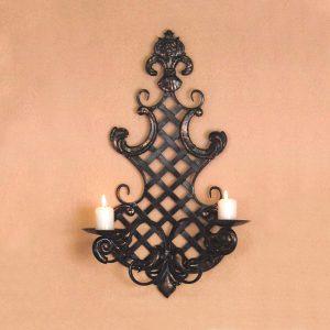 Nástenný svietnik dekorácia kov čierny antik