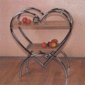 Odkladací stolík Srdce chróm/buk