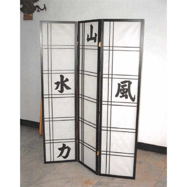 Paraván čínske znaky čierny