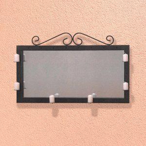 Zrkadlo/svietnik dekorácia kov čierny