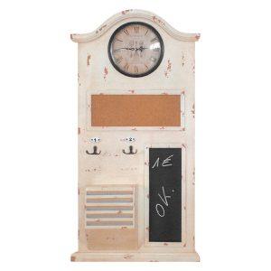 Memo tabuľa s hodinami biela antik