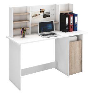 Písací stôl AMBRE dub/biela