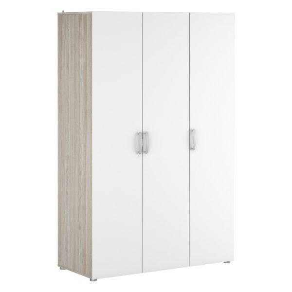 Skriňa 3-dverová NANO dub/perleťovo biela