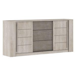 Komoda 2 dvere + 3 zásuvky ANTIBES dub/béžový betón